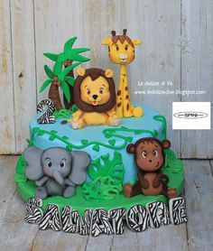 Jungle Birthday Cakes, Jungle Theme Cakes, Safari Cakes, Safari Theme, 1st Boy Birthday, Dear Zoo Cake, Cakes For Boys, Shower Cakes, Themed Cakes