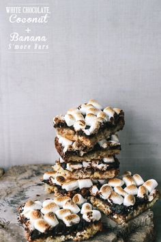 White Chocolate, Coconut and Banana S'more Bars