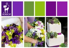 Purple & Green Wedding Inspiration Colour Board - By Designcat