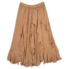 Small  Medium beige tan India rayon jagged hem hippie skirt boho