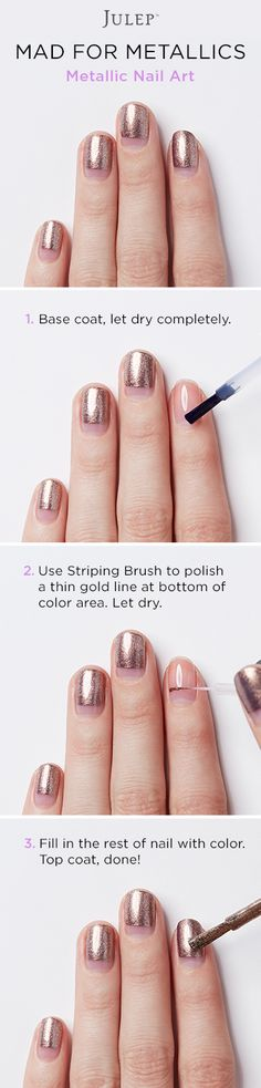 Get the polish colors used in this edgy metallic nail look for free when you join Julep Beauty Box. Julep sends you brand-new, can't-miss polish colors and beauty products every month. Offer ends 12/31/15.