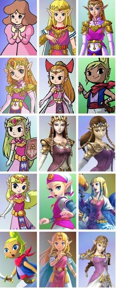 Zelda a lo largo de los años y generaciones de consolas Nintendo.