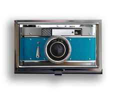 Business card vintage style teal camera metal by thecuriouscasellc, $17.50