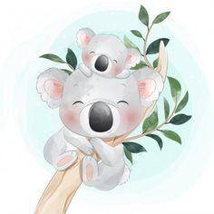 Cute Little Koala Bear Mother And Baby Illustration Mignonne, Cute Illustration, Baby Animal Drawings, Cute Drawings, Koala Baby, Cartoon Mignon, Baby Poster, Boat Cartoon, Art Mignon
