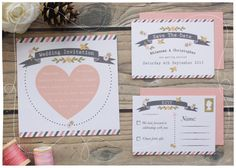 DIY Printable Wedding Invitation - Postcard Chic Wedding Stationery Set - Invite, RSVP & Save The Date - Printable. £10,00, via Etsy.