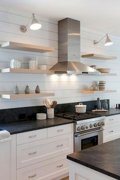 above a lot of inspiration about unique kitchen shelf shelves, so sure you don't want to replace it with a new kitchen shelf design like above? Kitchen Shelf Design, Kitchen Wall Shelves, Floating Shelves Kitchen, White Kitchen Cabinets, Home Decor Kitchen, New Kitchen, Home Kitchens, Kitchen Ideas, Kitchen Wood