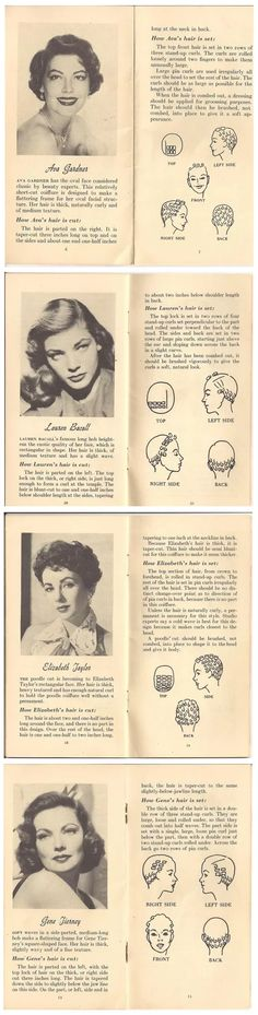 Hair hair style glam movie star looks vintage book print ad pin curls I'd love more of these little tutorials.especially cut advise. 1950s Hairstyles, Vintage Hairstyles, Trendy Hairstyles, Wedding Hairstyles, Famous Hairstyles, School Hairstyles, Hollywood Hairstyles, Celebrity Hairstyles, Vintage Curls