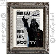 New to EcoCycled on Etsy: Darth Vader Beam Me Up Scotty on Vintage Upcycled Dictionary Art Print Book Art Print Repurposed Recycled Star Wars Star Trek Harry Potter (10.00 USD)