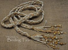 Luxury handfasting cord in cream and gold with wire wrapped pearls and Swarovski crystals, by BindingTies, £135.00