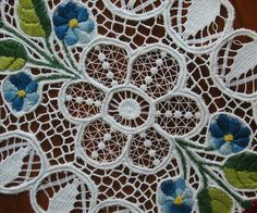 Vintage Kalocsa Hungarian Embroidery Lace Centerpiece from mercymaude on Ruby Lane