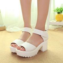 2016 New summer style femmes , plus la taille chaussures sandales tête de poisson talons solides sandales femmes plates - formes chaussures pour dame p-21(China (Mainland))