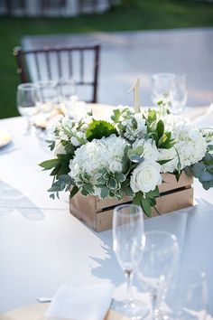 Classic Vineyard Wedding at Groom's Family Winery, Low White Centerpieces in Wooden Crates