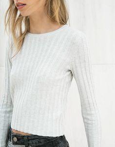 Jersey canalé cuello redondo - Mujer - Bershka España
