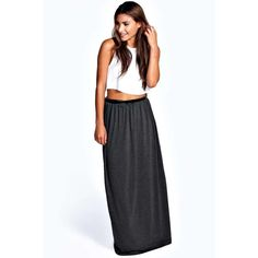 Boohoo Basics Vivian Viscose Jersey Belted Maxi Skirt ($16) ❤ liked on Polyvore featuring skirts, charcoal, floor length maxi skirt, summer skirts, maxi skirt, stretch skirt and long summer skirts