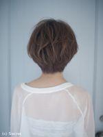かきあげバングがセクシーな前髪長めのショート|表参道で人気の美容院ならSECRET