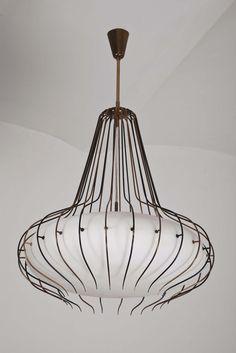 Angelo Lelli; #12699 Brass, Enamel and Glass Ceiling Light for Arredoluce, 1960s.