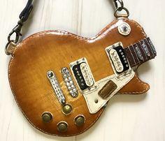 本革ギター型パスケース(Gibson レスポールモデル2