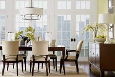 Ethan Allen Barrymore Dining Table And Drew Chairs In A Yellow DIning Room