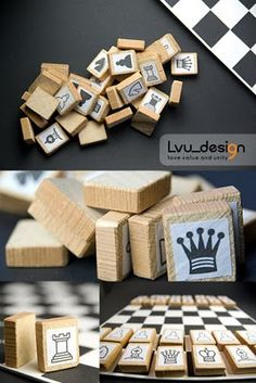 Chess game DIY -I think it'd be cleaner and nicer just to have the letters from the standard notation on the pieces. Pawns could be left blank and slightly smaller Diy For Kids, Crafts For Kids, Wooden Board Games, Operation Christmas Child, Traditional Games, I Love Mom, Diy Games, Kids Corner, Recycled Crafts