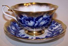 Royal Albert Treasure Chest Series Blue Rose Cup & Saucer Bone China England