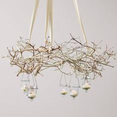 Branches by Mademoiselle Heureux Like this idea but think it would look much more elegant with vintage ornaments hanging in random lengths...