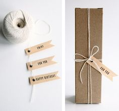packaging I love this idea gift wrap ideas LamLinh Creative handmade gifts via Etsy. In love with her Gift tags! Craft Packaging, Paper Packaging, Pretty Packaging, Jewelry Packaging, Packaging Ideas, Simple Packaging, Wrapping Gift, Christmas Gift Wrapping, Wrapping Ideas