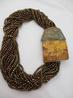 Vtg Rebecca Collins Chocolate Pearl Amber Serpentine Bless Our Earth Necklace | eBay