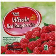 Great Value Whole Red Raspberries, 12 oz