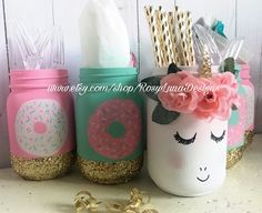Giggling unicorn and donut themed birthday party mason jar