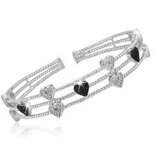 $39.99 - 1/4 Carat Black & White Diamond Bangle Bracelet in Sterling Silver