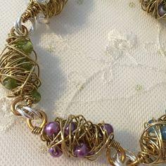 ON SALE Peridot, Brass and Sterling silver Chaos Bracelet, Gift for her, Sterling Silver Bracelet, Gemstone Bracelet, Women's Jewelry, Handm