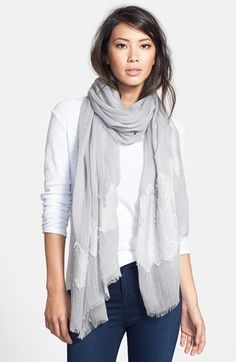 $23, Grey Cotton Scarf: Hinge Sanctuary Scarf. Sold by Nordstrom. Click for more info: https://lookastic.com/women/shop_items/110138/redirect