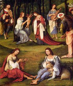 Lorenzo Costa, il Vecchio - La corte di Isabella d'Este, dettaglio - c. 1506 -  Musée du Louvre, Paris