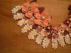 peach and cream crochet necklace bib flower by PashaBodrum on Etsy