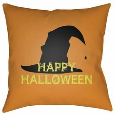 Surya Happy Halloween Square Throw Pillow ($40) ❤ liked on Polyvore featuring home, home decor and halloween home decor