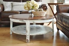 Farmhouse living room <3 Would love a slightly modern living room (with leather couch) with this old style coffee table.