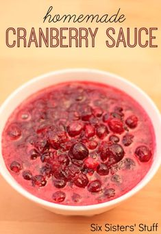 Homemade Cranberry Sauce Recipe – Six Sisters' Stuff | This homemade recipe only uses a few ingredients and will only take you a few minutes to make. A great side for your turkey on Thanksgiving! #recipe #thanksgivingrecipe