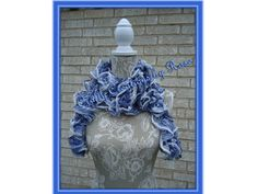Ready to ship Long Ruffle Scarf Sequins Hand-crochet by CCBR2014