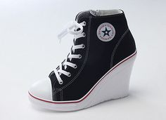 New Womens Ladies Lace Up Canvas Wedge High Heel Fashion Ankle Sneakers Shoes