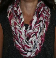 Super Soft Fuschia Grey and White Infinity by EntertainingDelights
