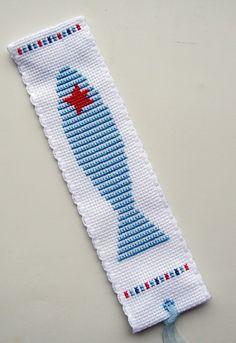 Funky Fish Stars & Stripes bookmark.CrossStitcher.