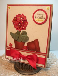 Potted Geranium Thanks by justcrazy - Cards and Paper Crafts at Splitcoaststampers