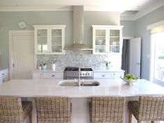 I like this island counter and chairs.  by It's Great To Be Home, via Flickr