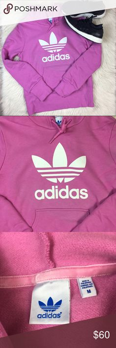 Adidas Trefoil VTG Logo Hoodie Pink Size Medium VTG logo adidas trefoil hoodie, size medium. Minor discoloring looks lighter pink in some areas, hard to notice (see photos) Excellent used condition, no holes/stains. Happy Poshing!! adidas Tops Sweatshirts & Hoodies