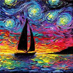 Sailboat Starry Night Art CANVAS print Come Sail Away ocean sunset boat artwork by Aja 88 1010 1212 1616 2020 2424 3030 choose size Starry Night Art, Art Night, Sailboat Art, Van Gogh Art, Van Gogh Paintings, Oil Painting Abstract, Yarn Painting, City Painting, Knife Painting