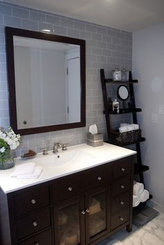 Modern Contemporary Bathroom with leaning shelf