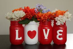 LOVE,Centerpiece, Country Home Decor, Mason Jar Decor, RED Mason Jars, Colorful Home Decor, wedding centerpiece, Decor, Tabletop Decor by AlittleStudio on Etsy https://www.etsy.com/listing/460191880/lovecenterpiece-country-home-decor-mason