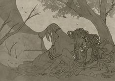 Persephone and Hades by arabeske-art on deviantART. Love how he's pulling up the landscape so as to whisk her away beneath the earth.