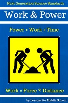This unit teaches students about Work and Power and how they can be applied in real life situations and scenarios.  Students will learn about Work and Power through a collection of lessons, guided notes, practice problems, and then a culminating activity where they will calculate their own personal human power.  *****************************************************************************Work and Power Unit  Middle School Science Includes the following: Aligned to Common Core Math Standards…