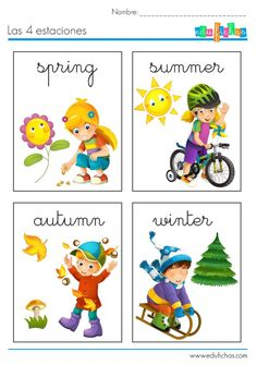 las 4 estaciones en ingles Learning French For Kids, English Activities For Kids, Teaching French, Teaching English, Preschool Activities, English Speech, Kids English, English Book, English Class